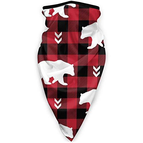 Windproof Face Warmer, White Bears Black Red Buffalo Plaid Check gezichtswarmer, winddicht, magische hoofdbanden voor ski's en motorfietsen