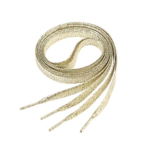 Garneck 1. Lacci Piatti da 1 M Lacci Colorati Decorativi con Lacci per Scarpe Scarpette per Scarpe da Ginnastica Scarpe Sportive Scarpe di Tela Dorate