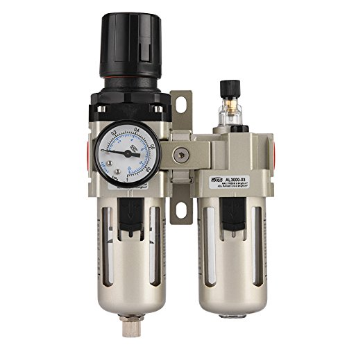 Regulador de Aire Comprimido, Haofy 3/8'' Regulador del Filtro de Aire, Separador de Agua y Aceite , Reductor de Presión para Compresor 0.05-0.85MPa