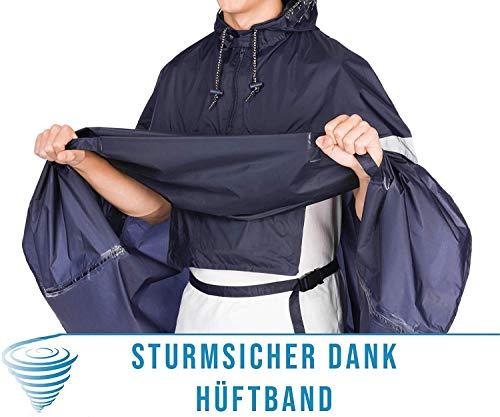 HOCK Premium Fahrrad Regenponcho 'Super Praktiko' mit Lüftung und seitlicher Armöffnung – 100,0% Wasserdichter Fahrradponcho für Herren & Damen (Blau, L) - 5