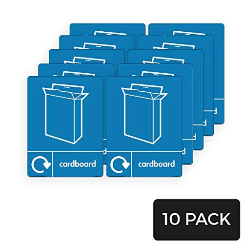 WRAP Recycle Karton met Kartonnen Doos Icoon & Logo Tekenen - WRAP Recycle Tekens Ondertekenen Waarschuwing Stickers voor Eigendom Zelfklevende Vinyl 200mm x 300mm,10 Pack