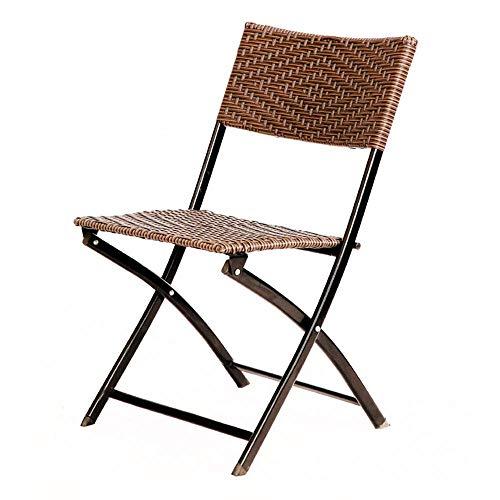 YINGGEXU Silla de comedor plegable para oficina, silla de ratán, silla de conferencia, silla de ordenador, silla de exterior, silla plegable de metal (color: marrón, tamaño: 84 x 46 x 46,5 cm)
