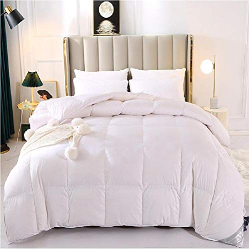 Hahaemall Duvets King size Quilt 95 White Goose Down Quilt - Super Soft Comforter - Warm and Cosy - Anti Allergy -100% Cotton Anti Dust Mite-white_200x230cm-3kg