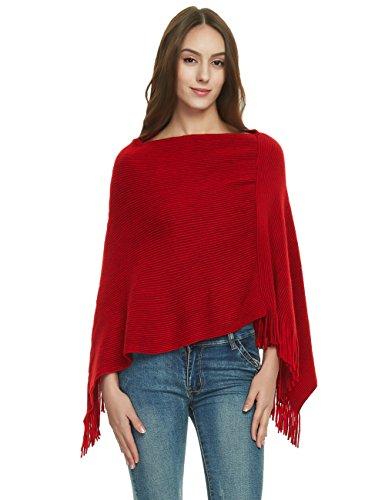 Ferand Damen Weich Poncho Cape Strick Zweiwege-Ausschnitt Fransen Schal, Einheitsgröße, Rot