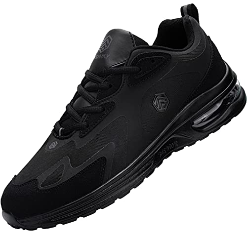 Fenlern Zapatillas de Seguridad Hombre Ligeras Zapatos de Seguridad Trabajo Punta de Acero Calzado de Seguridad con Colchón de Aire (Negro,43 EU)