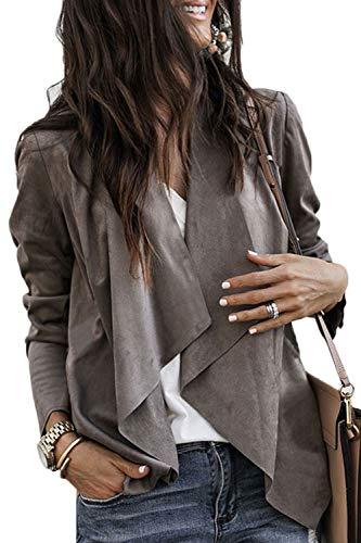 Sevozimda Le Donne Irregolare Breve Giacche Cappotto Risvolto Camoscio Blazer Giacca Indumenti Casual Brown XL
