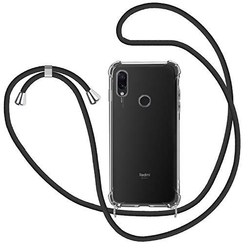 Funda con Cuerda para Xiaomi Redmi Note 7, Carcasa Transparente TPU Suave Silicona Case con Correa Colgante Ajustable Collar Correa de Cuello Cadena Cordón para Xiaomi Redmi Note 7 - Negro