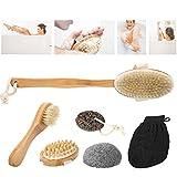 Body Massage Brush, Dry Skin Body Exfoliator Shower Bath Scrubber Per Wash Brushing Exfoliating Cellulite Foot Scrub Gambe Soft (7 Pcs)