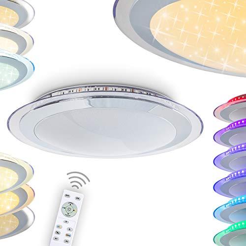 LED Deckenleuchte Vittangi, dimmbare Deckenlampe aus Metall in Weiß, Glitzereffekt, 30 Watt, 180-2400 Lumen (dimmbar), Lichtfarbe 3000-6000 Kelvin (einstellbar), RGB Farbwechsler u. Fernbedienung