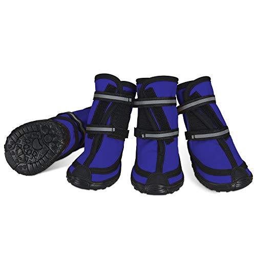 Dociote Bottes de Protection pour Chien Ensemble imperméable, Chaussures Chien antidérapantes avec Boucle adhésive Sangles réfléchissantes Chaussures Chiens Chaudes résistantes pour Les Chiens Bleu M