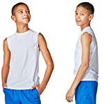 DEVOPS Boys 2 Pack Baselayer Workout Tank Top Sleeveless (Small, White)