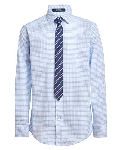 Tommy Hilfiger Boys Long Sleeve Dress Shirt with Straight Tie, Collared Button-Down with Cuff Sleeves, Noon Blue Grid, 10 Husky
