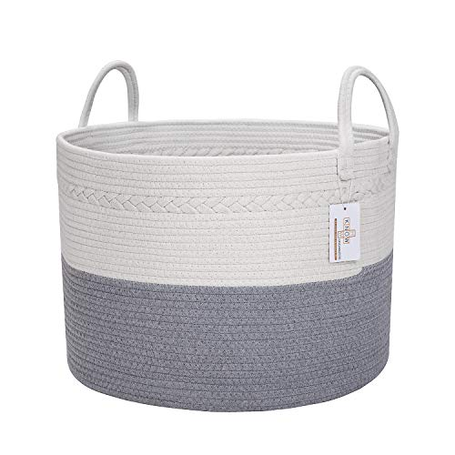 Know How Organizers Large Cotton Rope Laundry Basket Baby Nursery Hamper Woven Laundry Basket Dog Toy Organizer XXL Blanket Storage Decorative Sorter Handles Living Room Pillow Cushion  Grey White 20 X 13 Wide Extra Large Dirty Clothes Bin