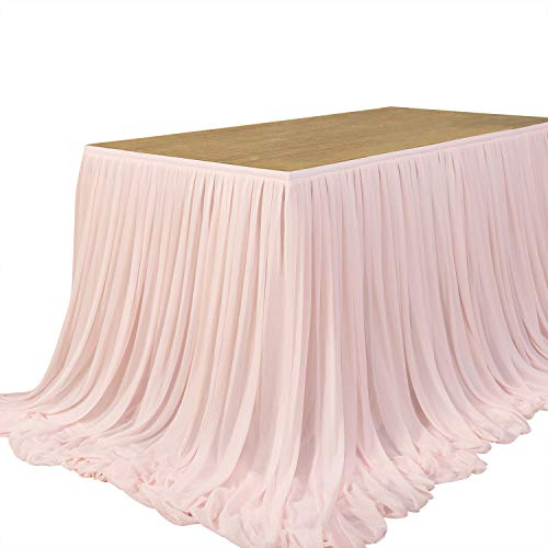 Ling's moment 9FT Table Skirt Extra Long Sheer Table Skirt Cloth for Wedding Sweetheart Table Main Table Cake Table Birthday Party Table Decoration, Blush