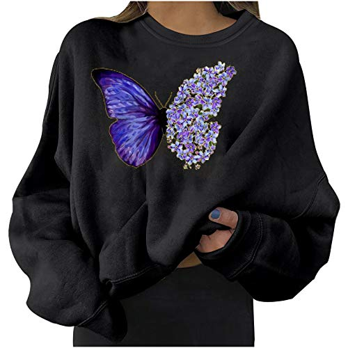 Sudaderas para Mujer, Moda Sudaderas Elegante Manga Larga Casual Mariposa Impresión Pull-Over...