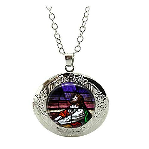 Halskette mit Medaillon im Stil von Jesus, betendes Jesus, Kirchenfenster, religiös, Schmuckgeschenk