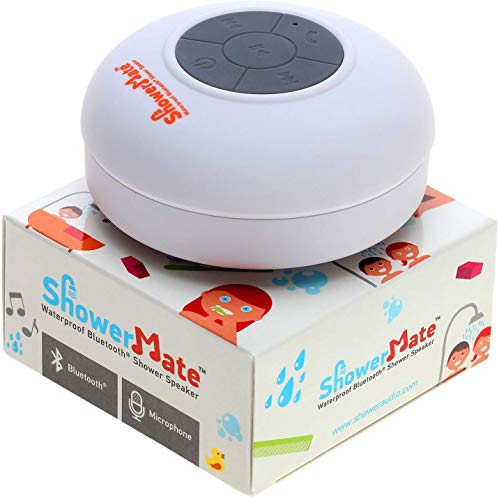 Shower Mate Wireless Bluetooth Lautsprecher, Wasserdichtes Duschradio mit Freisprecheinrichtung und Eingebautem Mikrofon, Kompatibel mit Allen Bluetooth Geräten (Weiß)