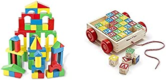 Melissa & Doug 100-Piece Wood Blocks Set & Classic ABC Wooden Block Cart (Educational Toy with 30 Solid Wood Blocks, Great Gift for Girls and Boys - Best for 2, 3, 4, and 5 Year Olds)