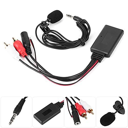 Terisass Adaptador de Cable RCA del módulo 2 AUX Bluetooth para Coche con micrófono Manos Libres Kit de Coche Bluetooth