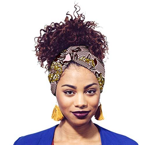 Yijinstyle Damen Kopftuch Printed Turban Afrikanischen Muster Knoten Schlaf Elegante Hijab Headscarf (Style#24, 12 * 200cm)