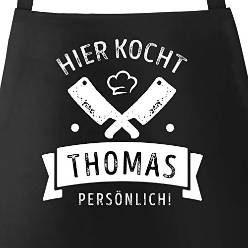 MoonWorks® Grill-Schürze Kochschürze für Männer mit Spruch Hier kocht der Chef persönlich Baumwoll-Schürze Küchenschürze Personalisiert schwarz Unisize