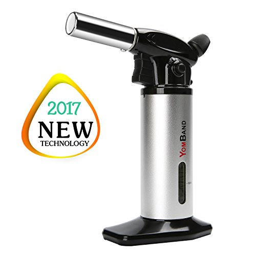 Creme Brulee Torch, YOMBAND Refillable Kitchen Cooking Blow Torch With Adjustable Flame And Safety Lock For Desserts, BBQ, Camping, Welding and More