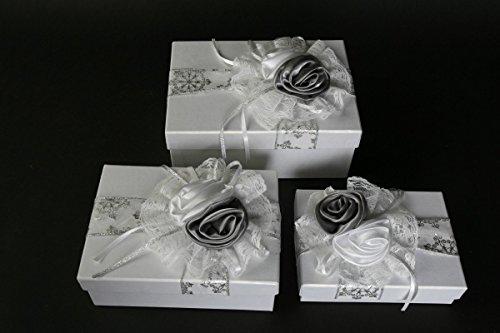 Michel-Toys Cadeau Mariage Lot de 3 Blanc Argent Boîte Cadeau Argent Mariage schachte