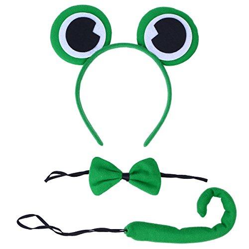 LUOEM Oreja de Rana Verde Príncipe Orejas de Arco Pajarita Sapo Conjunto de Disfraces Traje Diadema Oreja con Lazo para Fiesta Cosplay, Paquete de 3