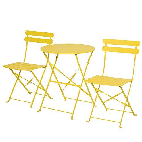 Outsunny Conjunto Muebles Plegables de Jardín de 3 Piezas Mesa y 2 Sillas de Metal para Balcón Terraza Exteriores Ø60x71 cm Amarillo