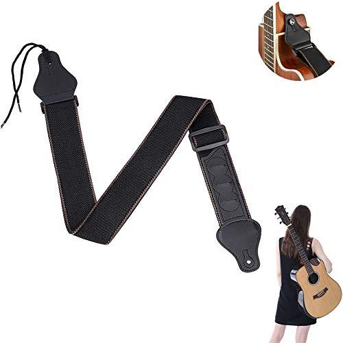 Gitarrengurt Verstellbarer Baumwolle,Gitarren-Gurt mit 3 Plektrumhaltern Gitarrenband Gurtschlösser bunte Plektren Guitar Strap für Akustikgitarre,E-Gitarre, Bass, Banjos schwarz