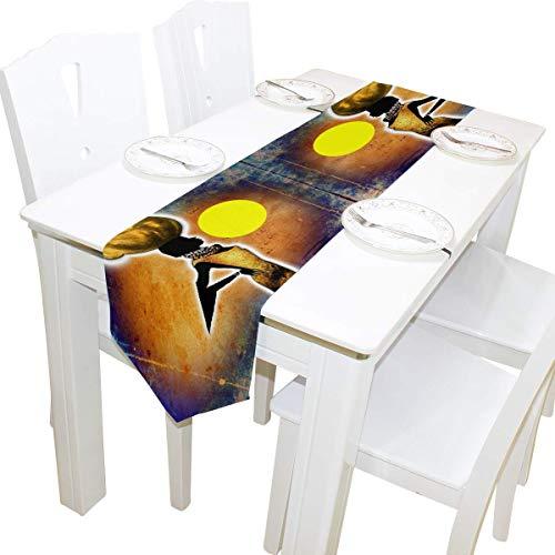 NotApplicable Table Cloth Runner Afrika Retro Vintage Style Schwarz Frauen Wohnzimmer Esszimmer Restaurant Party Tischläufer Tischdekoration Hochzeitsküche Schöne Unisex Bunt 229X33Cm
