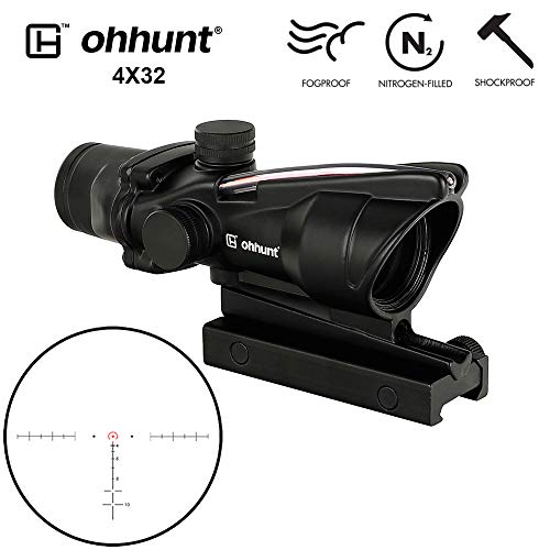 Great Features Of ohhunt 4x32 Hunting RifleScopes Red or Green Illuminated Horseshore Glass Etched R...