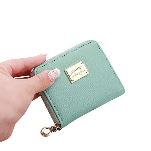 Women's wallet short coin purse fashion wallet woman card holder small wallet female buckle mini clutch girl-Mint Green