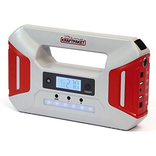 Dino KRAFTPAKET 136235 12V-600A Starthilfegerät 51.2Wh 16000mAh (LiFePO4) mit Kompressor Powerbank Warnlicht Starthilfe Booster Schnellstartsystem Starthilfekabel LED-Taschenlampe, Grau