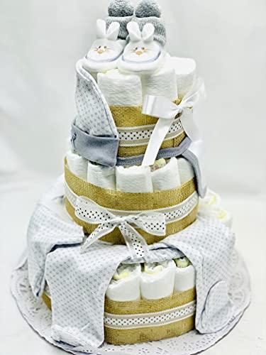 Tarta de pañales DODOT y Conjunto bebé 3 pisos - Regalo original para recién nacido - Incluye DEDICATORIA - Tarta pañal Unisex bebé con ropita 0-6 meses
