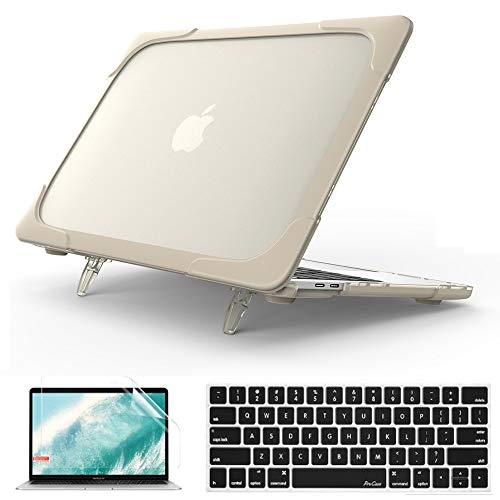 QYiD MacBook Pro 13 Inch Case 2019 2018 2017 2016 A2159 A1989 A1706 A1708, 2 in 1 Heavy Duty ShockProof Matt Protective with Keyboard Cover & Screen Protector for Apple Mac Pro 13 Touch Bar, Kaki