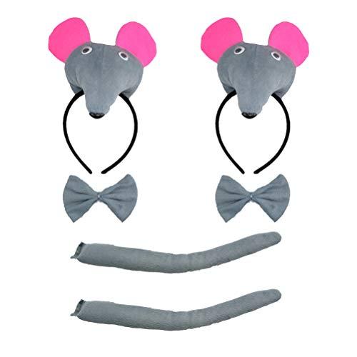NUOBESTY 2 Satz Maus Kopf Und Schwanz Set Tier Ratte Stirnband Bogen Und Schwanz für Lustige Neujahrsparty Kinder Tier Cosplay Kostüm Gefälligkeiten (Grau)