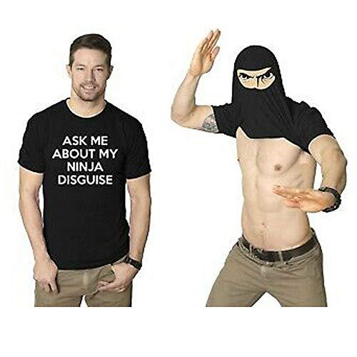 KBLLNPBP Ask Me About My Ninja Disguise, Flip T-Shirt Lustiges Kostüm Grafik Humor T-Shirt, Flip Ninja Gesicht T-Shirt, Lustige Jungen T-Shirt Für Männer Und Frauen (Männer, XL)