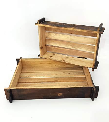 takestop® mand van hout, donkerbruin, 2 stuks, voor kastplanken, rechthoekig rechthoekig