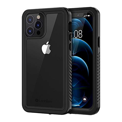 Lanhiem Waterproof Case Compatible with iPhone 12/12 Pro (6.1 inch), IP68 Waterproof Dustproof Shockproof Case with Built-in Screen Protector, Full Body Sealed Underwater Protective Cover (Black)
