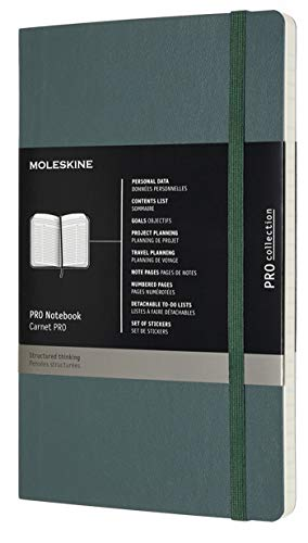 "Moleskine PRO Notebook, Soft Cover, Large (5"" x 8.25"") Professional Project Planning, Forest Green, 192 Pages"
