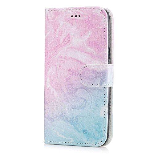 pinlu® Funda para Samsung Galaxy J5 (2015 Version, 5.0 Pulgada) Prima PU Billetera Flip Wallet Case Carcasa Soporte Función con Ranuras de Tarjeta Diseño Mármol Patrón Rosa Azul