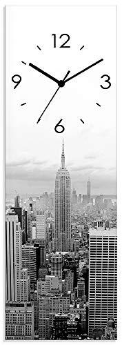 Artland Wanduhr ohne Tickgeräusche aus Glas Quarzuhr 20x60 cm Rechteckig Lautlos New York Skyline Städte USA Amerika Manhattan Modern S7MH