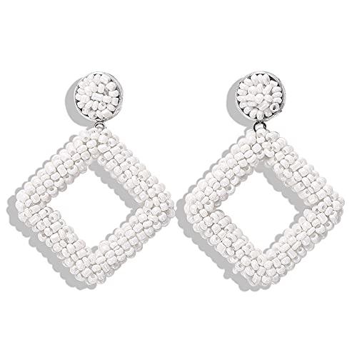 WANGSHI Kreative Handgewebte String Perlen Ohrringe Urlaub Dating Romantische Reis Perle Ohrringe Mädchen Kleine Frische Ohrringe A9 Weiß