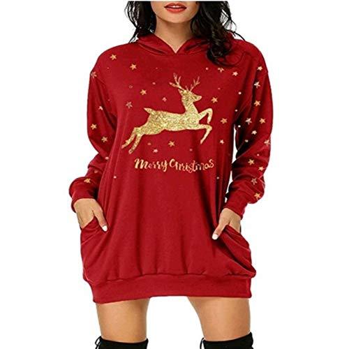 Navidad De La Manera Vestido Con Capucha De Las Mujeres, Señoras Bolsa De Bolsillo De Navidad Imprimir Con Capucha, Las Niñas De Manga Larga De Punto Sweatershirt Cable Del Puente Del Suéter De Vestir
