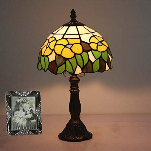QCKDQ Lampe de Table de Style Tiffany 8 Pouces, Lampe de Table vitrail Fleur avec Interrupteur Bouton Poussoir, Salon rétro, veilleuse décoration,zincalloy