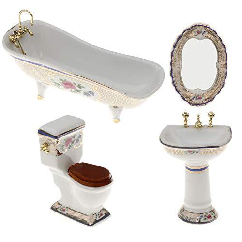 LGYKUMEG 1/12 Puppenstuben Mini Möbel Porzellan Badezimmer Set Blumen Toilette Badewanne Basin,4pcs