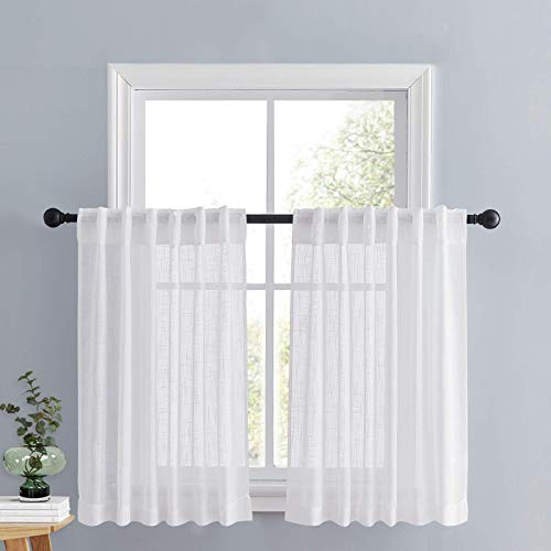 PONY DANCE White Sheer Tier - Linen Look Semi-Transparent Voile Valance Casual Rod Pocket & Back Tab Short Curtains Drapes for Small Windows Cafe, 52 Wide x 36 Long, 2 Panels
