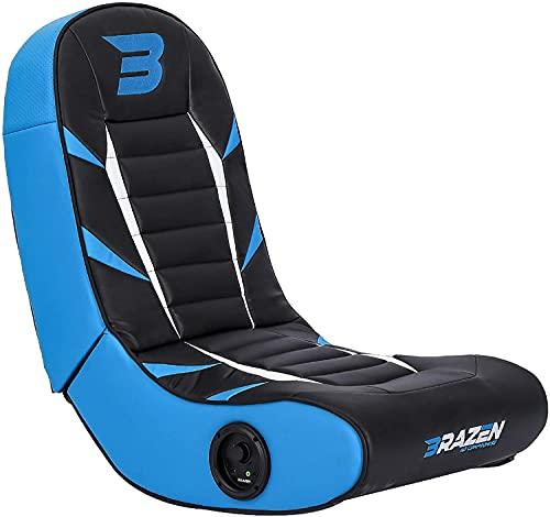 BraZen Python 2.0 Bluetooth Gaming Chair Foldable Floor Rocker with Speaker for Children - Blue