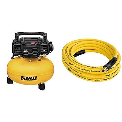 "DEWALT Pancake Air Compressor, 6 Gallon, 165 PSI (DWFP55126) & DXCM012-0204 3/8"" x 25' Premium Hybrid Hose"